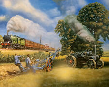 In Days Of Steam Beautiful Print Picture Painting Steam Train Tractor Country