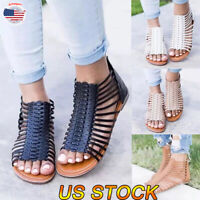 Womens Beach Sandals Ankle Straps Casual T-Strap Thong Flat Gladiators Shoes Zip