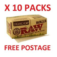10 Packs of Raw Rolls Organic Hemp Papers 5 metre x 10 Packs - NEW