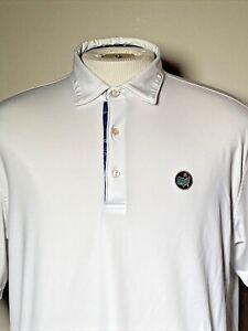 Masters Augusta Peter Millar Summer Comfort Men's Medium White Golf Polo Shirt