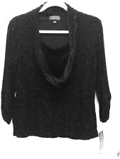 ELEMENTZ~3/4 Sleeve~Cowl Neck~Pattern Top w/ Attached Tank~BLACK~L~NWT~Cocktail