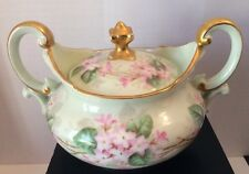 Limoge T&V France Decorative Green Pink Floral Gold Trim Two Handle Sugar Bowl