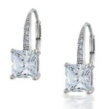 2 Ct Near White Princess Cut Moissanite Engagement Earring 925 Sterling Silver