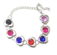 Silver Love Heart Bracelet Girls Black Pink Blue Purple Crystal Dress Jewellery