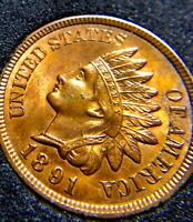 1891 AWSOME MINT STATE INDIAN HEAD / CARTWHEEL LUSTER++/ 4 DIAM  / BU++/UNC