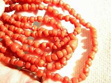 antique genuine CORAL beads necklace handcraved beads ~ Victorian 39g~