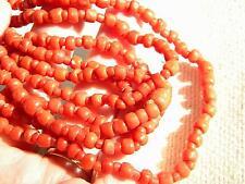 Antico autentico perline di corallo collana handcraved Perline Vittoriano ~ 39g ~