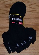 SALE Under Armour Mens Performance QUARTER Socks 6 Pair Size 9-12 BLACK White Lg