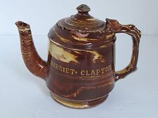 "Antique Red Ware English Trailed, Marbleized and Combed Teapot ""Harriet Clapton"""
