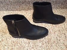 Women's J Crew Black Leather Bootie Size 5