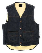 Vintage Sears Roebuck Denim Vest Sherpa Lined Mens Medium Western Cowboy Trucker