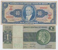 Banco Central do BRASIL banknotes - 10 Cruzeiros + 1 Cruzeiro - 2 PCS !
