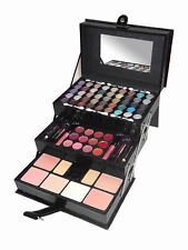 CAMEO PROFESSIONAL BLACK LEATHER MAKEUP EYESHADOW LIP FACE  TRAIN CASE KIT