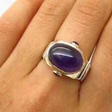 David Sigal 925 Sterling Silver / Gold 14K Real Amethyst Gemstone Ring Size 8