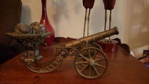 """Vintage 14"""" Replica Cannon. Brass-Ornate, Victorian Era Style"""