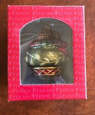 Fitz & Floyd Jolly Ole St. Nick Glass Ornament Holiday Christmas