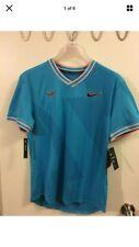 NikeCourt AeroReact Rafa Mens SS Tennis Top Sz XL Blue AQ7660-433 NWT
