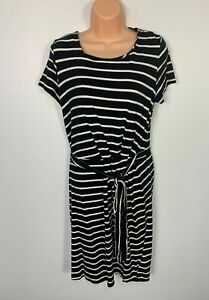 WOMENS ESPRIT SIZE SMALL BLACK&WHITE STRIPE SHORT SLEEVE STRETCH T-SHIRT DRESS