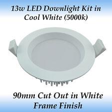 13 Watt Dimmable LED Downlight Kit in Cool White Light with White Frame