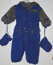 SESAME STREET Size 12 Months Blue Fully-Lined Padded Hooded Snowsuit