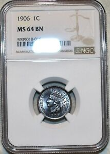 NGC MS-64 BN 1906 Indian Head Cent, Attractively toned specimen.