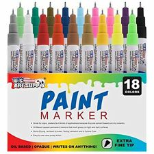 U.S. Art Supply 18 Color Set of Extra Fine Point Tip Oil Based Paint Pen Markers