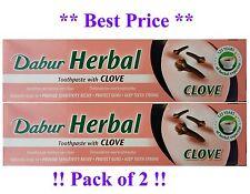 2x Dabur Clavo De Olor Herbal Pasta De Dientes 100ml sin adición de fluoruro adecuado para Vegeterian