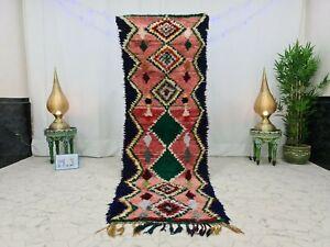 "Vintage Moroccan Boucherouite Handmade 2'9""x8'9""Berber Geometric Pink Green Rug"
