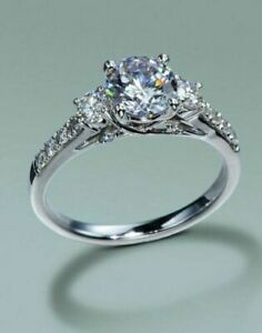 1.35Ct Round Cut White Diamond Engagement Wedding Ring Solid 925 Sterling Silver