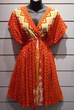 Mini Dress Fits M L XL Orange Polka Dot African Dashiki Print Dolman NWT DC99
