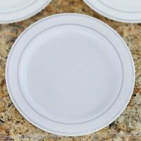 """10/pk  White w/ Silver 10.25"""" Round Disposable Plastic Plate wedding/cater"""