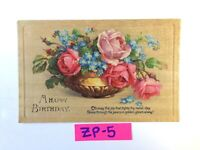C.1931 A Happy Birthday Beautiful Pink Roses FLOWERS Vintage Postcard ZP-5