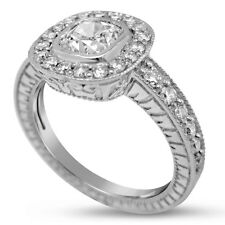 1.45CTW CUSHION CUT DIAMOND ENGAGEMENT RING BEZEL FILIGREE ANTIQUE STYLE C27