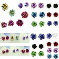 Elegant Women Crystal Rhinestone Rose.Flower Ear Stud Earrings Fashion_Jewelry
