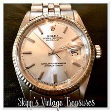 Man's Vintage Rolex Date-just Jubilee Stainless Steel Watch!! White Gold Bezel.