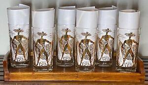 Vintage Signed Marc Bellaire Gold Beachcomber Glasses Barware MCM - Set of 6