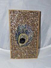 GOLDEN SATIN FABRIC BEADED COVER PEACOCK MINI POCKET JOURNAL