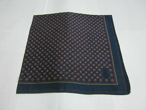 "USED DARK BLUE GEOMETRIC PATTERN COTTON 18"" HANDKERCHIEF POCKET SQUARE FOR MEN"