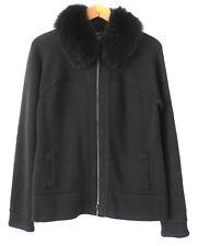 Per Se Sweater Jacket 100% Merino Wool Fox Fur Collared Full Zip Size M