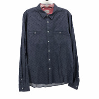 7 Diamonds Mens XL Blue Bicycle Print Long Sleeve Button Front Casual Shirt