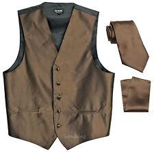New men's tuxedo vest waistcoat_necktie & hankie Solid wedding Brown