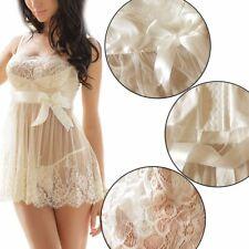 Women Lingerie Off-Shoulder Lace Sheer Chemise Nightwear Babydoll Nightie Dress