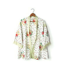 Anne Fogarty size M vintage Fly Away kimono blouse layer top white roses lace