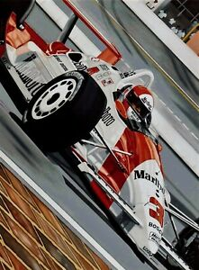 Rick Mears 90 x 70 cms limited edition Indycar art print by Colin Carter