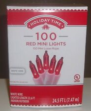 Holiday Time 100 Red Mini Lights-Christmas-Wedding-NEW-White Wire