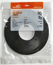 Moroday DOUBLE SIDED PE FOAM TAPE 6mmx30m Indoor/Outdoor Use BLACK *Aust Brand