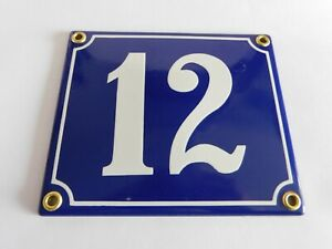 Old French Blue Enamel Porcelain Metal House Door Number Street Sign / Plate #12