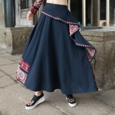 Women Ethnic Linen Cotton Skirt Hippie Vintage Retro Casual Long Maxi Floral New