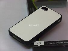 Dual Tone Leather Finish TPU Silicone Back Case Cover For Apple iPhone 4 4S 4G W