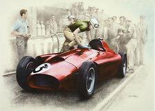 Scuderia Ferrari racing team D50 Pit Stop 1956 Silverstone BRDC Trophy art card